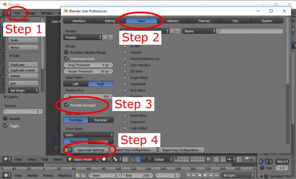 steps to use blender without a number pad
