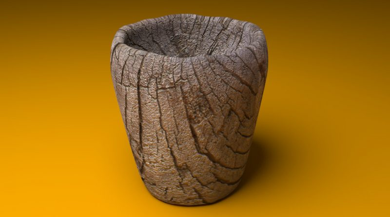 Blender Cup with Wood Texture