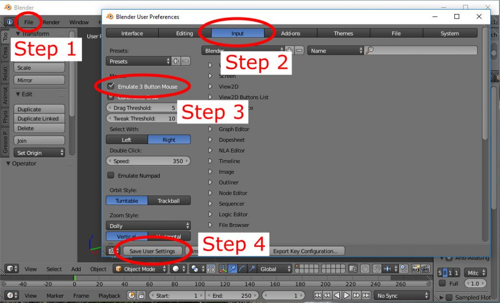 How to Use Blender without a Middle Mouse Button or a Scroll