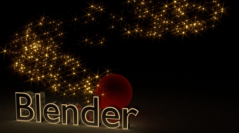 Blender Text with Sparkling Background